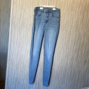 Light wash high waisted super stretch skinny jeans